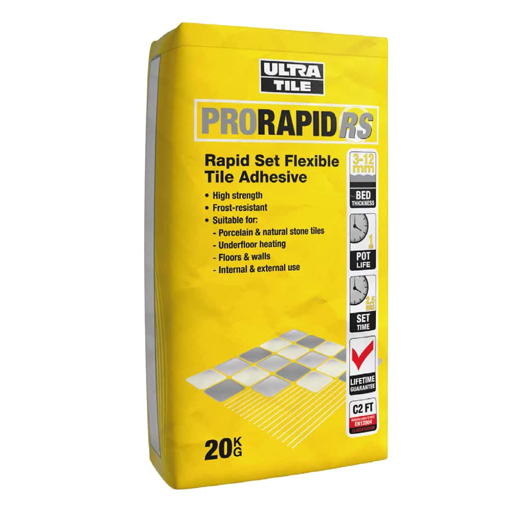 grey flexible 1 part rapid set floor tile adhesive 20kg ebay. Black Bedroom Furniture Sets. Home Design Ideas