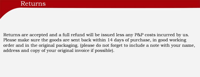 returns policy, full refund if products are sent back within 14 days and are in good working order