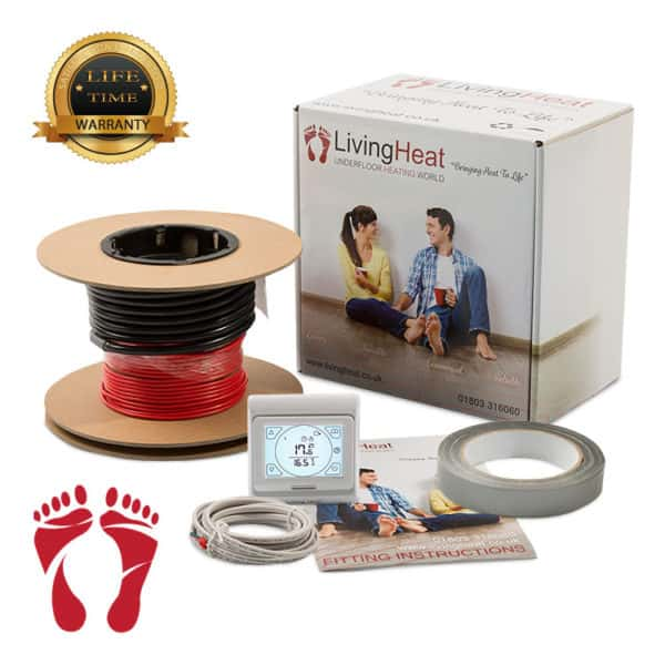 Underfloor Heating Cable With white touch screen thermostat