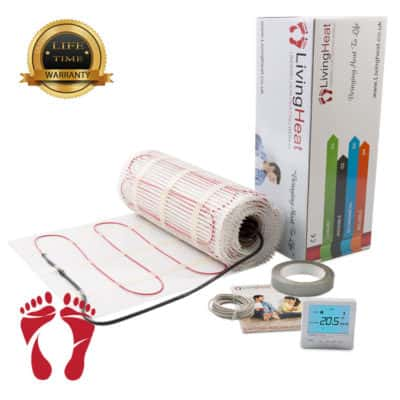 Underfloor Heating Mat with silver digital thermostat