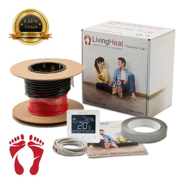 Underfloor heating cable with white thermostat