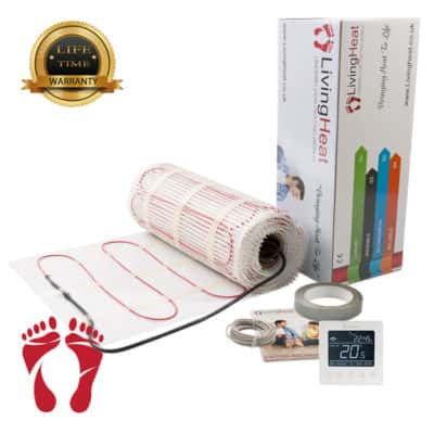 Underfloor Heating Mats with White Wifi Thermostat