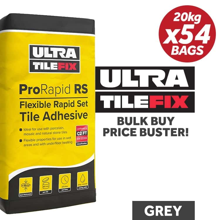 UltraTile Fix ProRapid RS Flexible Tile Adhesive 20Kg / GREY
